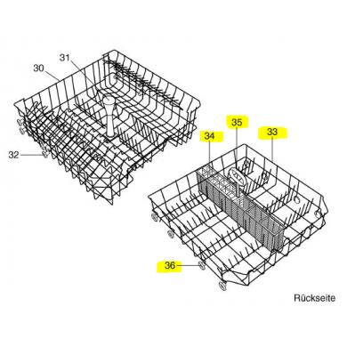 Panier supérieur - Panier inférieur lave-vaisselle V-ZUG